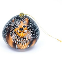 Handcrafted Carved Gourd Art Yorkshire Terrier Yorkie Puppy Dog Ornament Peru image 1