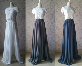 Split Maxi Chiffon Skirt Blue Gray White Wedding Chiffon Skirt Bridesmaid Outfit image 1