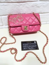 AUTH CHANEL PINK LAMBSKIN EMOJI CRYSTAL PEACE SIGN MINI RECTANGULAR FLAP BAG