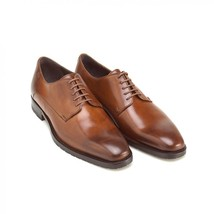Men's Handmade Cognac Derby Oxfords Leather Shoes, Genuine Leather Dress Shoes - $159.99 - $179.99