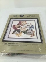 "Something Special Counted Cross Stitch Kit ""Cats And Bows"" 14""X14"" New  50340 - $9.49"