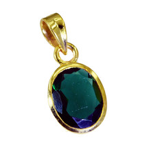 cute Green Emerald CZ Gold Plated Green Pendant Natural general US gift - $9.89