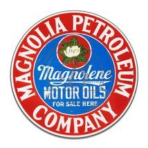 Magnolia Petroleum Magnolene Motor Oil Reproduction Circle Round Aluminum Sign - $16.09