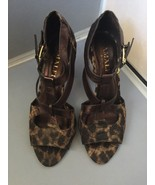Amalfi by Rangoni Lucente Animal Print Brown Strappy Heels Sandals ~Size 7 - $19.95