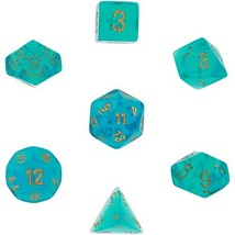 Chessex Dice: Polyhedral 7-Die Borealis Dice Set - Teal with Gold Number... - $8.51