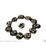 Jet Black Jasper Zodiac Sun Sign Set Reiki Engraved Gemstone A++ Free Bo... - $39.89