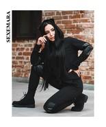 SEXEMARA PU Spliced Black Two Piece Set Top and Pants Tracksuit Women Jo... - $54.66