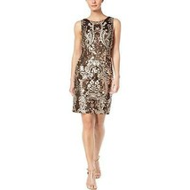 Calvin Klein Women's Embroidered Sleeveless Party Dress, Black/Gold, 8 - $54.43