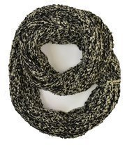 Le Nom Wavy Ribbed Crochet Knitted Infinity Scarf (Black) - £9.62 GBP