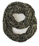 Le Nom Wavy Ribbed Crochet Knitted Infinity Scarf (Black) - ₨928.38 INR