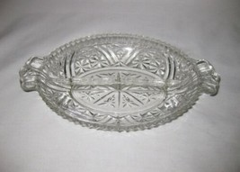 "Neat Vintage 8"" X 6 1/2"" Clear Glass Pressed Handled Relish Dish - $70.67"