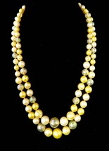 Double Strand Jonquil Bead Necklace Vintage Casual Honeymoon Necklace Party Prom - $29.95