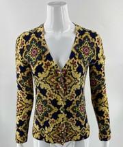 Talbots Cardigan Sweater Sz Medium Navy Blue Gold Damask Print Pure Meri... - $29.70