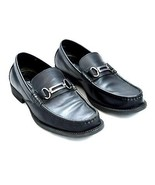 MARC ANTHONY Smooth Black Leather Dress Casual Moc Toe Belted Loafer Sho... - $12.86