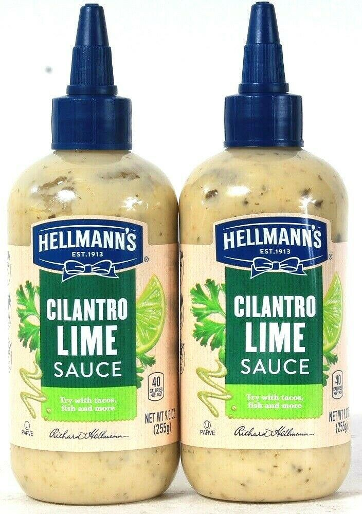 Primary image for 2 Bottles Hellmann's 9 Oz Cilantro Lime Sauce Try With Tacos Fish & More