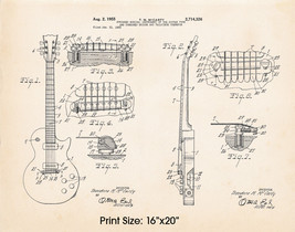 """1955 Gibson Les Paul Artwork Patent Poster Print McCarty 16""""x20"""" Guitar Gifts - $19.80"""
