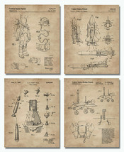 """Outer Space Patent Prints 8""""x10"""" Set of 4 - Wall Art Decor Aerospace Lovers Gift - $16.99"""