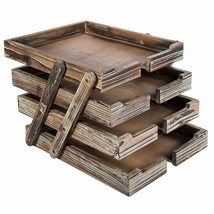 4-Tier Distressed Brown Wood Desktop Document Paper Organizer Collapsibl... - $40.56