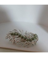 Sarah Coventry Silver-tone Feather/Leaf Grayish/Green Faux Pearl Brooch - $15.99