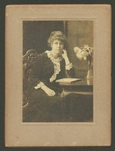 Antique Photograph Lovely Woman Seated at Table with Book Studio Photogr... - $14.99