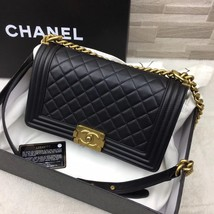 AUTHENTIC CHANEL PEARLY BLACK QUILTED LAMBSKIN MEDIUM BOY FLAP BAG GHW image 2