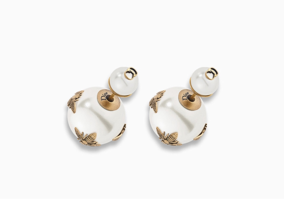 AUTH Christian Dior 2018 LIMITED EDITION TRIBALES WASP CD LOGO PEARL EARRINGS