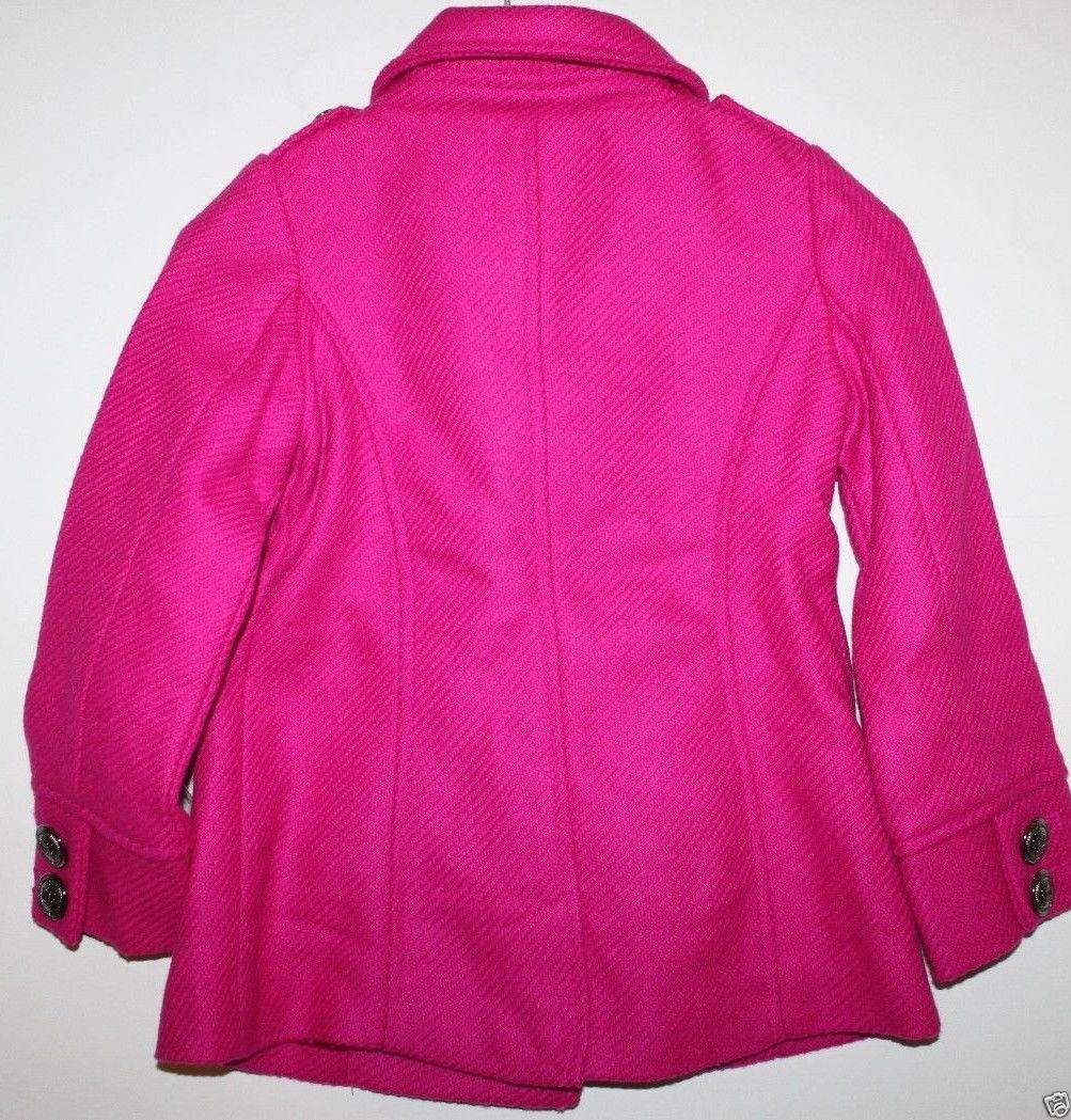 Gap Kids NWT Girl's XXL 13 Pink Boucle' Wool Blend Pea Coat Jacket image 5