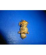 Vintage Gold Owl Graduation Cap Graduate Gold Tone Charm Or Pendant w Ch... - $21.77