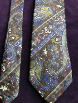 "Robert Talbott Mens Neck Tie Silk 60"" Brown Paisley Diagonal Stripe 3L3 - $51.29"