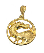 Mortal Kombat 24k Yellow Gold Plated Dragon Charm Pendant MK 11 Jewelry New - $27.75
