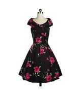 Rose Printing Big Peplum Bubble Skirt V Neck Dress  red - $34.19