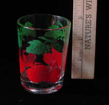 Vintage Federal Glass Small Juice Cup Tomato on the Vine Design Red Green - $6.92