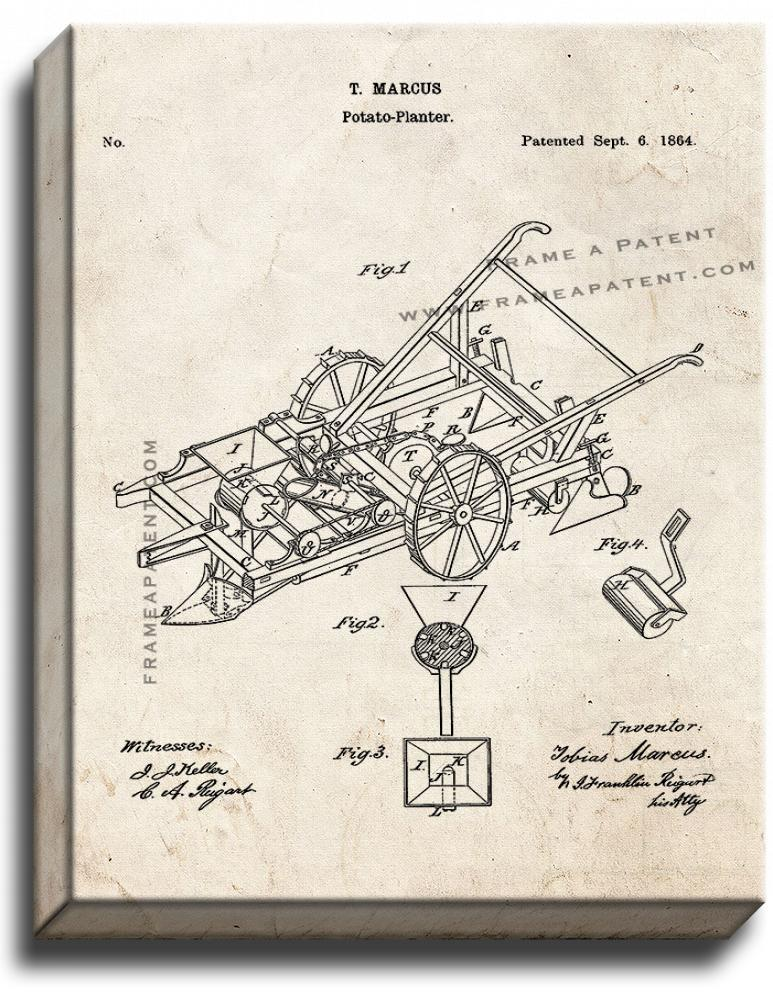 Primary image for Potato Planter Patent Print Old Look on Canvas