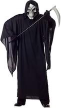 Grim Reaper Black Horror Robe Ghoul Scary Fancy Dress Up Halloween Adult... - $35.53