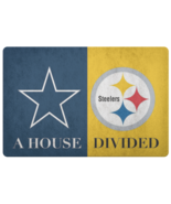 House Divided Man Cave Decor Cowboys Steelers Welcome Doormat - $29.49