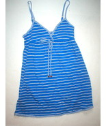New Juicy Couture Nighty Night Short Gown Stripe Ruffle Small Blue White... - $32.00