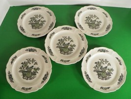 Wedgwood Barlaston GREEN LEAF Bread and Butter Plate (s) LOT OF 5 Queen's Shape - $30.43