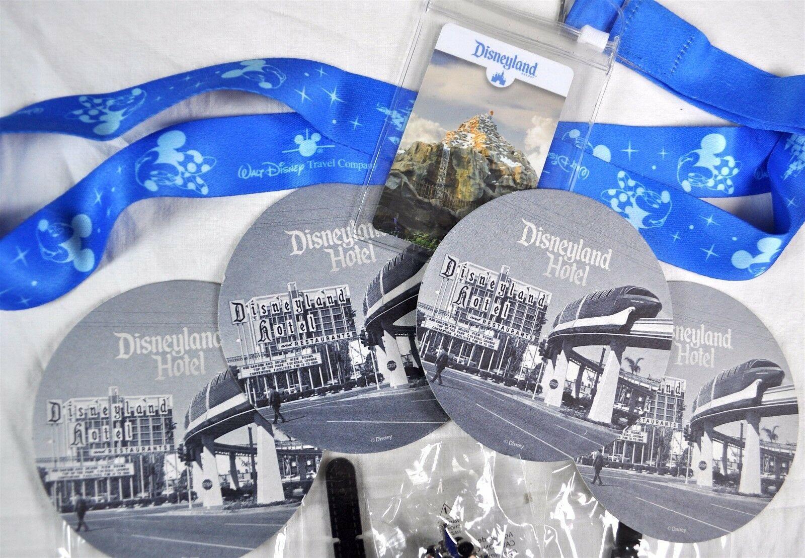 Disneyland Travel Mickey Minnie Lanyard Pin Luggage ID Tags Coasters 9 Item Lot