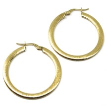 18K YELLOW GOLD CIRCLE HOOPS 3x1mm, EARRINGS 30mm, DOUBLE FACE SMOOTH & SATIN image 2