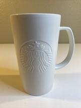 """All White 5.5"""" Starbucks Tall Ceramic Coffee Mug Cup 16oz White 2015 Emb... - $25.23"""