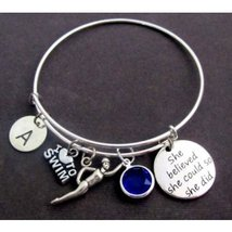 Swimming Bracelet,Swimming Expandable Bangle,Swimmers Jewelry,She Believ... - $16.00