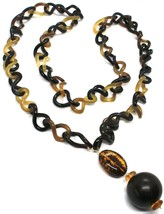 18K YELLOW GOLD LONG NECKLACE, HORN, AMBER, EBONY, 1 METER, 39.4 INCHES image 2