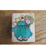 Rubber Stamp:  Angel Hiding Star Paper Craft - $7.77
