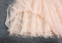 Blush Layered Tulle Skirt Outfit Midi Tiered Tulle Skirt Plus Size Holiday Skirt image 5