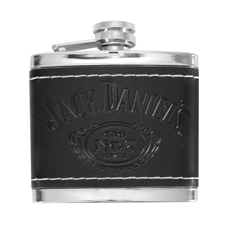 "Black rubber wrap w logo Flask /""Jim Beam Kentucky Fire/"" Bourbon Stainless Steel"