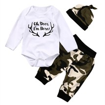 Cute Newborn Toddler Kids Baby Boys Clothes Romper Tops Camouflage Pants... - $11.39