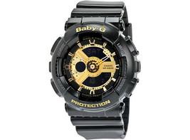 Casio G-Shock Women's Black Baby-G Gold-Tone Ana-Digi Watch - BA110 1ACR - £80.54 GBP
