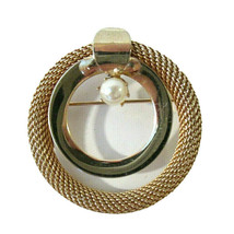 Signed Kramer of New York Gold & Faux Pearl Metal Mesh Brooch Circle Wreath - $24.00