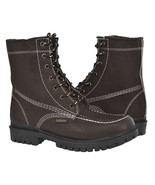 Mens Moc Toe Lace Up Work Boots Brown Real Leather Durable Non Slip Shoes - $54.99
