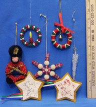 Christmas Beaded Holiday Ornament Handmade Wreath Toy Soldier Star Var L... - $9.89